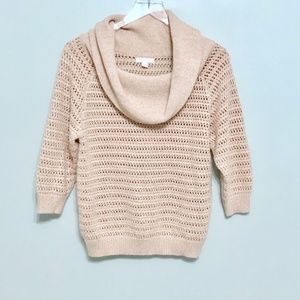 NY & CO Beige Cowl Neck Sweater Metallic Small